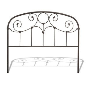 Leggett & Platt Grafton Metal Headboard w/ Scrollwork Design & Decorative Castings, Rusty Gold Finish, California King-Headboards & Footboards-HipBeds.com