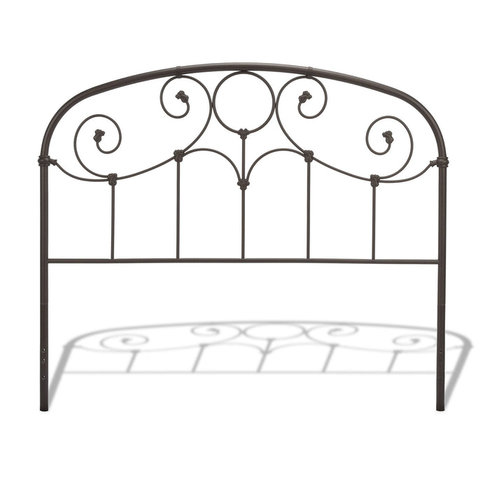 Leggett & Platt Grafton Metal Headboard w/ Scrollwork Design & Decorative Castings, Rusty Gold Finish, California King