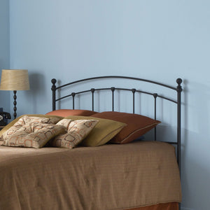 Leggett & Platt Sanford Metal Headboard w/ Castings & Round Finial Posts, Matte Black Finish, Queen-Headboards & Footboards-HipBeds.com