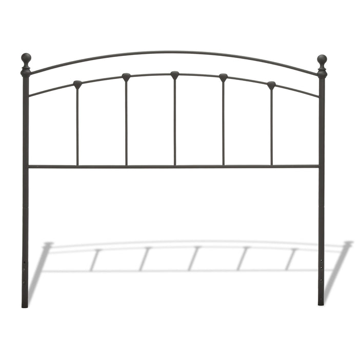 Leggett & Platt Sanford Metal Headboard w/ Castings & Round Finial Posts, Matte Black Finish, California King