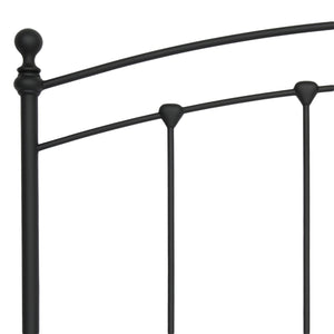Leggett & Platt Sanford Metal Headboard w/ Castings & Round Finial Posts, Matte Black Finish, California King-Headboards & Footboards-HipBeds.com