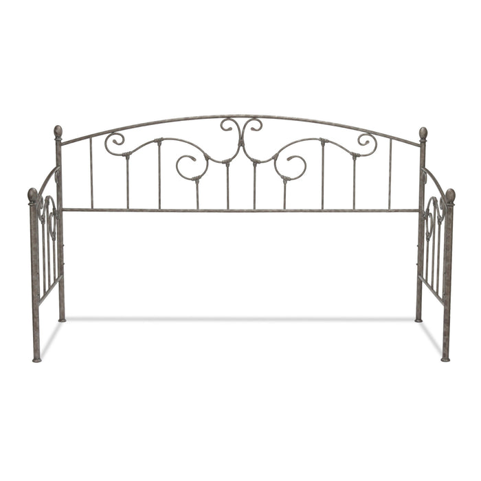 Leggett & Platt Hinsdale Metal Daybed w/ Sloping Rails & Vertical Spindles, Antique Pewter Finish, Twin