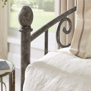 Leggett & Platt Hinsdale Metal Daybed w/ Sloping Rails & Vertical Spindles, Antique Pewter Finish, Twin-Daybeds-HipBeds.com