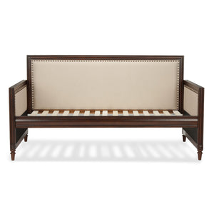 Leggett & Platt Granr Wood Daybed w/ nail head Trim & Cream Upholstery, Espresso Finish, Twin-Daybeds-HipBeds.com