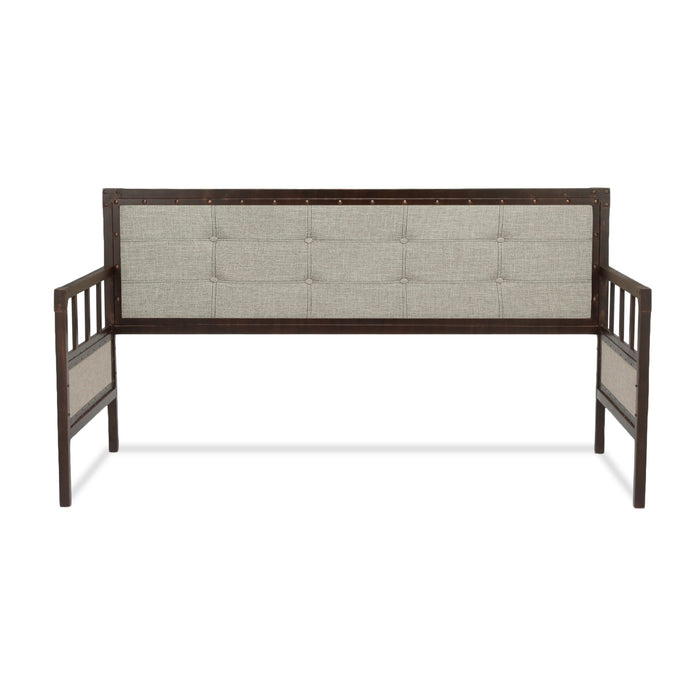 Leggett & Platt Gotham Metal Daybed w/ Latte Finished Button-Tufted Upholstery & Brass Studs, Brushed Copper, Twin