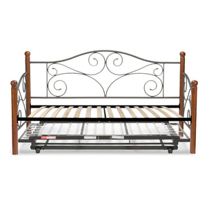 Leggett & Platt Doral Metal Daybed w/ Euro Top Deck & Trundle Bed Pop-Up Frame, Matte Black Finish, Twin-Daybeds-HipBeds.com