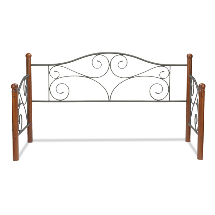 Leggett & Platt Doral Metal Daybed Frame w/ Scrolled Spindle Panels & Walnut Hardwood Finial Posts, Matte Black Finish, Twin