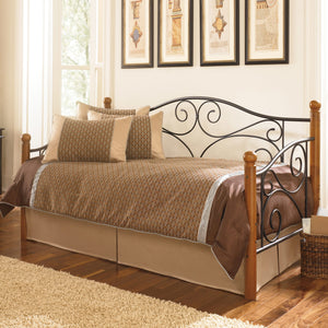 Leggett & Platt Doral Metal Daybed Frame w/ Scrolled Spindle Panels & Walnut Hardwood Finial Posts, Matte Black Finish, Twin-Daybeds-HipBeds.com