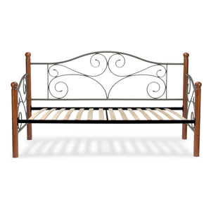Leggett & Platt Doral Metal Daybed w/ Scrolled Spindle Panels & Euro Top Deck, Matte Black Finish, Twin-Daybeds-HipBeds.com