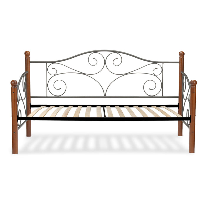 Leggett & Platt Doral Metal Daybed w/ Scrolled Spindle Panels & Euro Top Deck, Matte Black Finish, Twin