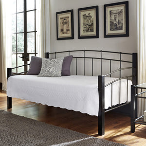 Leggett & Platt Scottsdale Metal Daybed w/ Sloping Top Rails & Dark Wooden Posts, Black Finish, Twin-Daybeds-HipBeds.com