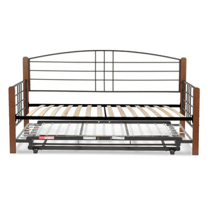 Leggett & Platt Dayton Metal Daybed w/ Euro Top Deck & Trundle Bed Pop-Up Frame, Black Grain Finish, Twin-Daybeds-HipBeds.com