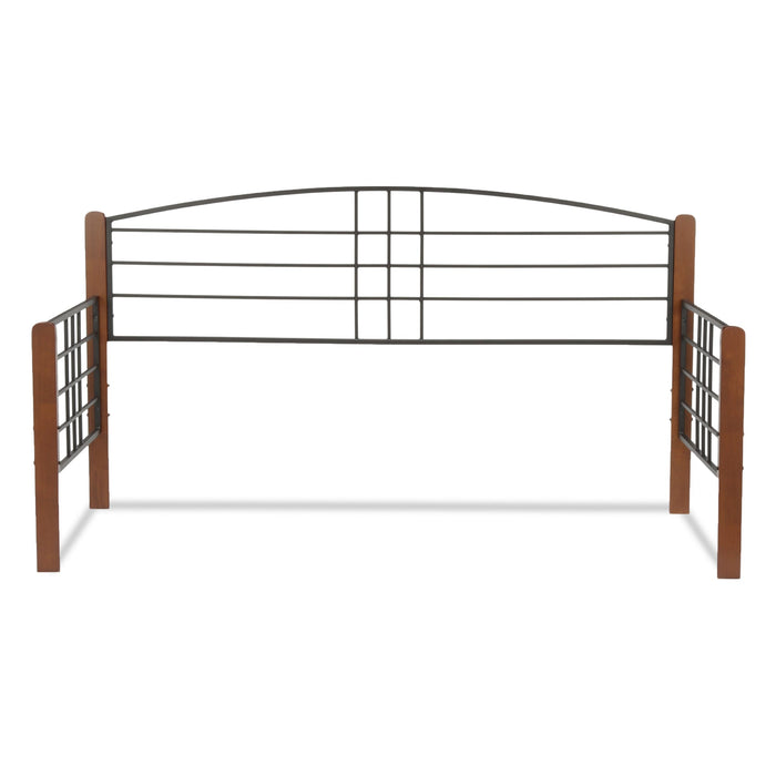 Leggett & Platt Dayton Metal Daybed Frame w/ Arched Back Panel & Flat Wooden Posts, Black Grain Finish, Twin