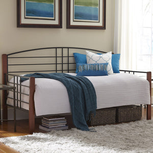 Leggett & Platt Dayton Metal Daybed Frame w/ Arched Back Panel & Flat Wooden Posts, Black Grain Finish, Twin-Daybeds-HipBeds.com