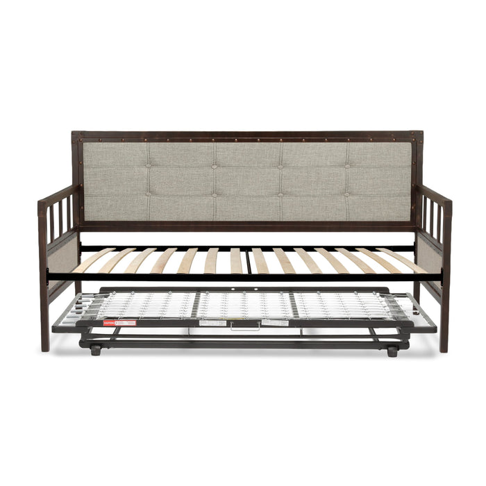 Leggett & Platt Gotham Metal Daybed w/ Euro Top Deck & Trundle Bed Pop-Up Frame, Brushed Copper, Twin
