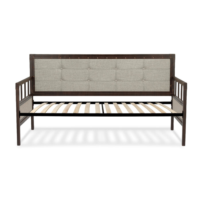 Leggett & Platt Gotham Metal Daybed w/ Latte Finished Button-Tufted Upholstery & Euro Top Deck, Brushed Copper, Twin