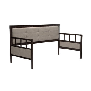 Leggett & Platt Gotham Metal Daybed w/ Latte Finished Button-Tufted Upholstery & Euro Top Deck, Brushed Copper, Twin-Daybeds-HipBeds.com