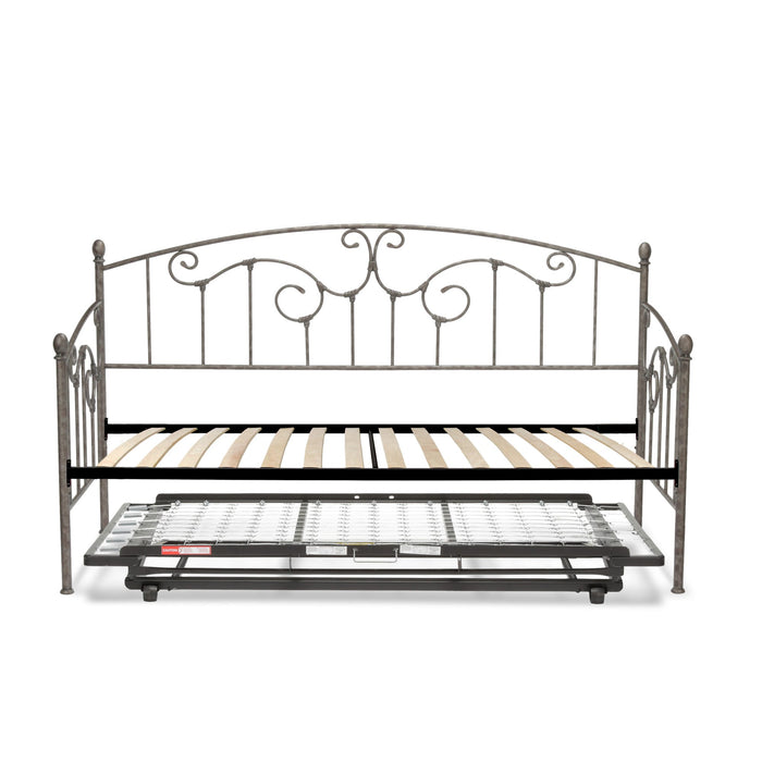 Leggett & Platt Hinsdale Metal Daybed w/ Euro Top Deck & Trundle Bed Pop-Up Frame, Antique Pewter Finish, Twin