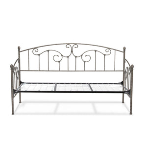 Leggett & Platt Hinsdale Metal Daybed w/ Vertical Spindles & Link Spring, Antique Pewter Finish, Twin-Daybeds-HipBeds.com