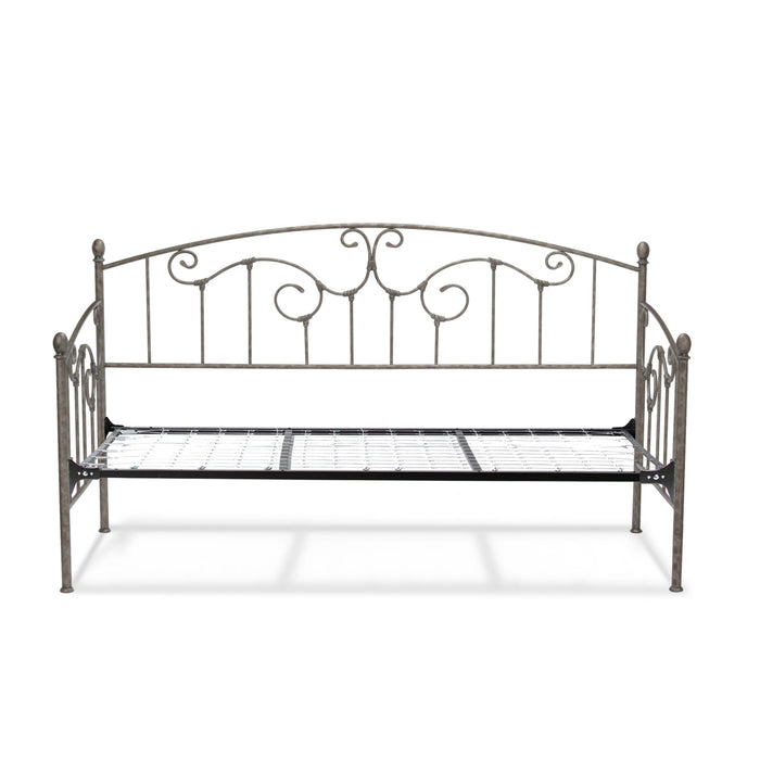 Leggett & Platt Hinsdale Metal Daybed w/ Vertical Spindles & Link Spring, Antique Pewter Finish, Twin
