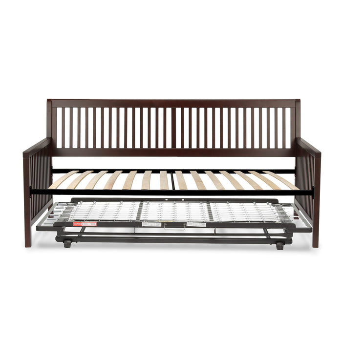 Leggett & Platt Mission Complete Wood Daybed w/ Euro Top Deck & Trundle Bed Pop-Up Frame, Espresso Finish, Twin