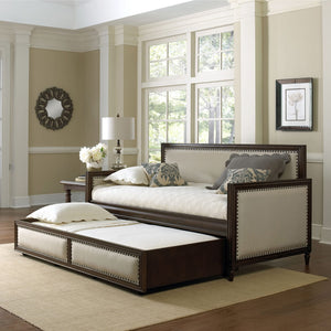 Leggett & Platt Granr Wood Daybed w/ Cream Upholstered Panels & Roll Out Trundle Drawer, Espresso Finish, Twin-Daybeds-HipBeds.com