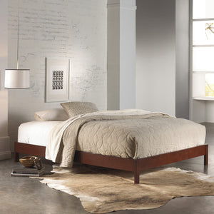 Leggett & Platt Murray Platform Bed w/ Wooden Box Frame, Mahogany Finish, California King-Beds-HipBeds.com