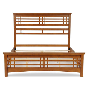 Leggett & Platt Avery Bed w/ Wood Frame & Mission Style Design, Oak Finish, King-Beds-HipBeds.com
