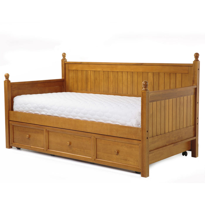 Leggett & Platt Casey II Wood Daybed w/ Ball Finials & Roll Out Trundle Drawer, Honey Maple Finish, Twin