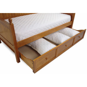 Leggett & Platt Casey II Wood Daybed w/ Ball Finials & Roll Out Trundle Drawer, Honey Maple Finish, Twin-Daybeds-HipBeds.com