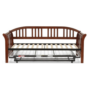 Leggett & Platt Salem Complete Wood Daybed w/ Euro Top Deck & Trundle Bed Pop-Up Frame, Mahogany Finish, Twin-Daybeds-HipBeds.com