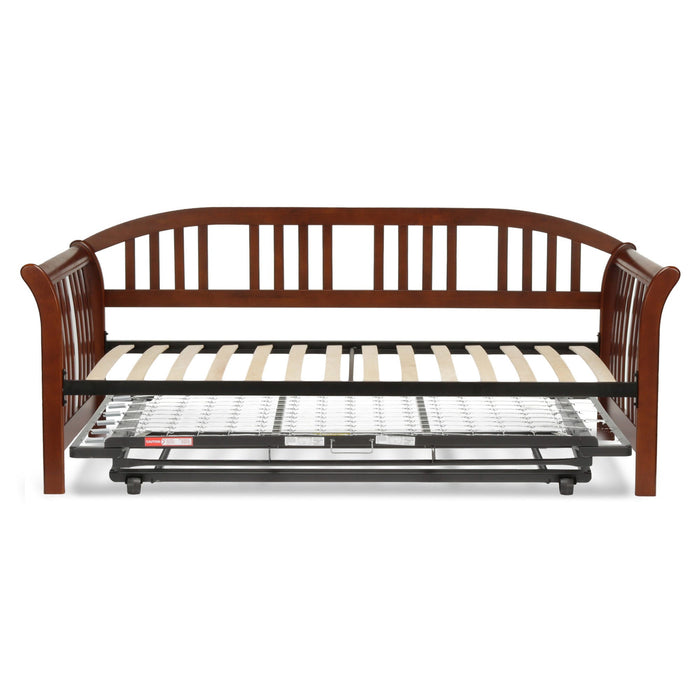 Leggett & Platt Salem Complete Wood Daybed w/ Euro Top Deck & Trundle Bed Pop-Up Frame, Mahogany Finish, Twin