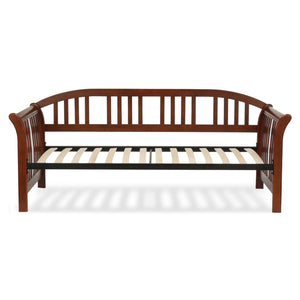 Leggett & Platt Salem Complete Wood Daybed w/ Curved Back Panel & Euro Top Deck, Mahogany Finish, Twin-Daybeds-HipBeds.com