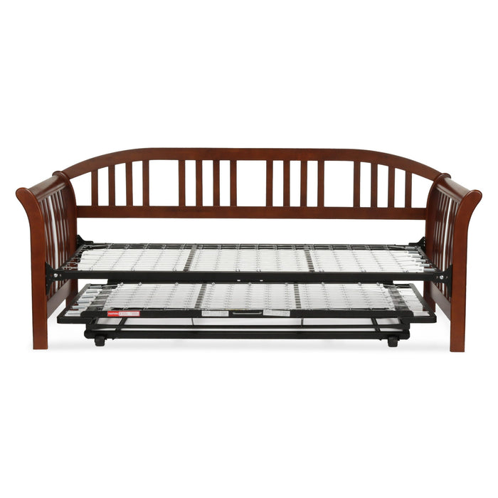 Leggett & Platt Salem Complete Wood Daybed w/ Link Spring & Trundle Bed Pop-Up Frame, Mahogany Finish, Twin