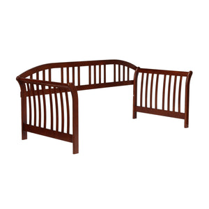 Leggett & Platt Salem Complete Wood Daybed w/ Link Spring & Trundle Bed Pop-Up Frame, Mahogany Finish, Twin-Daybeds-HipBeds.com
