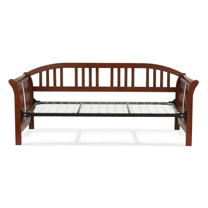Leggett & Platt Salem Complete Wood Daybed w/ Curved Back Panel & Link Spring, Mahogany Finish, Twin
