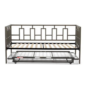 Leggett & Platt Miami Metal Daybed w/ Euro Top Deck & Trundle Bed Pop-Up Frame, Coffee Finish, Twin-Daybeds-HipBeds.com