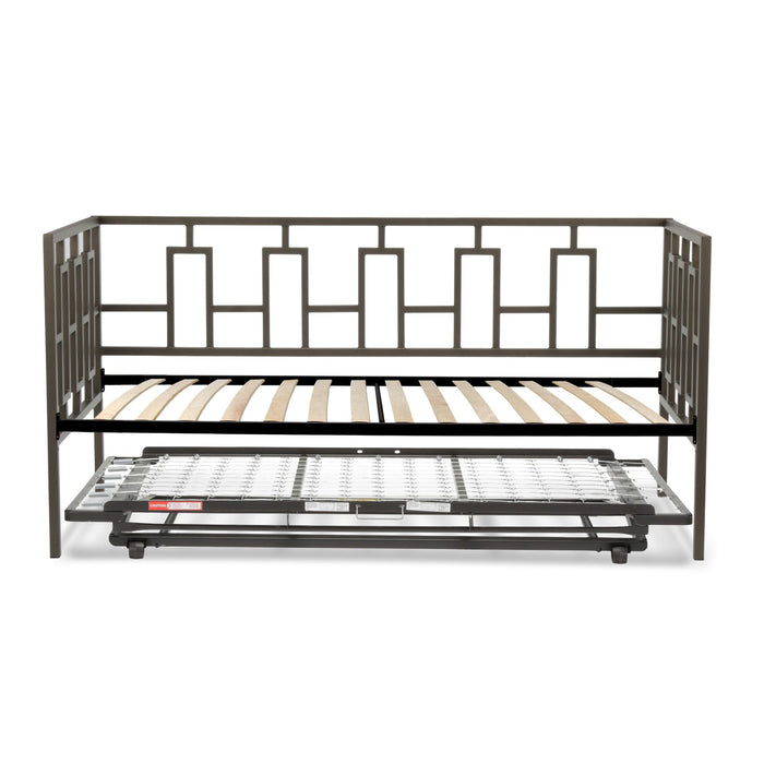 Leggett & Platt Miami Metal Daybed w/ Euro Top Deck & Trundle Bed Pop-Up Frame, Coffee Finish, Twin