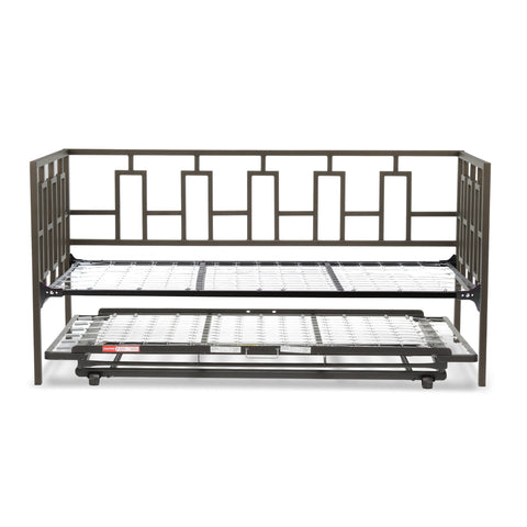Leggett & Platt Miami Metal Daybed w/ Link Spring & Trundle Bed Pop-Up Frame, Coffee Finish, Twin-Daybeds-HipBeds.com