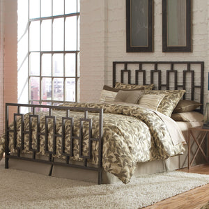 Leggett & Platt Miami Bed w/ Squared Tube Metal Duo Panels, Coffee Finish, Queen-Headboards & Footboards-HipBeds.com