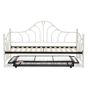 Leggett & Platt Emma Metal Daybed w/ Euro Top Deck & Trundle Bed Pop-Up Frame, Antique White Finish, Twin-Daybeds-HipBeds.com