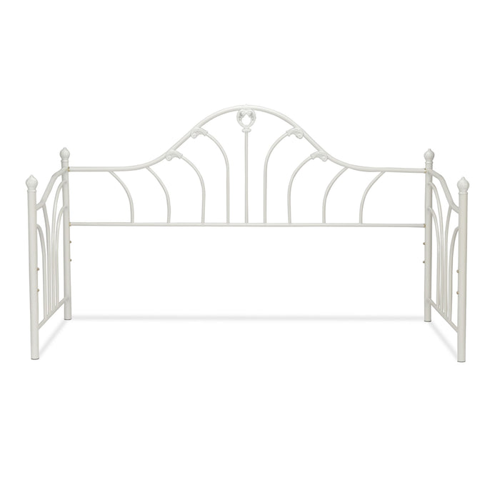 Leggett & Platt Emma Metal Daybed Frame w/ Curved Spindles & Camelback Arch, Antique White Finish, Twin