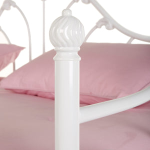Leggett & Platt Emma Metal Daybed Frame w/ Curved Spindles & Camelback Arch, Antique White Finish, Twin-Daybeds-HipBeds.com