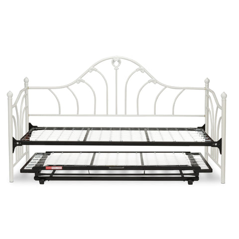 Leggett & Platt Emma Metal Daybed w/ Link Spring & Trundle Bed Pop-Up Frame, Antique White Finish, Twin-Daybeds-HipBeds.com