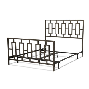 Leggett & Platt Miami Bed w/ Squared Tube Metal Duo Panels, Coffee Finish, Queen-Beds-HipBeds.com
