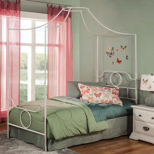 Leggett & Platt Emsworth Complete Kids Metal Canopy Bed w/ Geometric Shape Design, White Finish, Twin-Beds-HipBeds.com