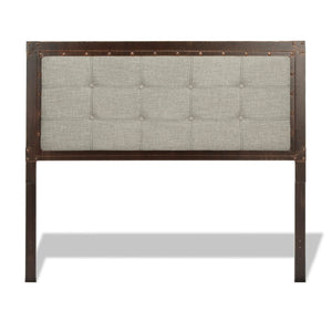 Leggett & Platt Gotham Bed w/ Dark Latte Upholstered Metal Panels, Brushed Copper Finish, King-Headboards & Footboards-HipBeds.com