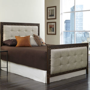Leggett & Platt Gotham Bed w/ Dark Latte Upholstered Metal Panels, Brushed Copper Finish, California King-Headboards & Footboards-HipBeds.com