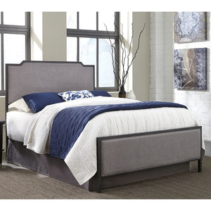 Leggett & Platt Bayview Metal Bed w/ Gray Upholstered Headboard & Footboard, Black Pearl Finish, Full-Headboards & Footboards-HipBeds.com