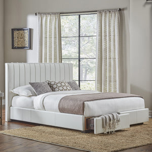 Leggett & Platt Delaney Storage Bed w/ Faux-Leather Upholstered Frame & (2) Footboard Drawers, White Finish, California King-Storage Beds-HipBeds.com